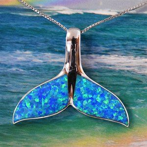 Silver X-Large Opal Whale Tail Pendant Necklace